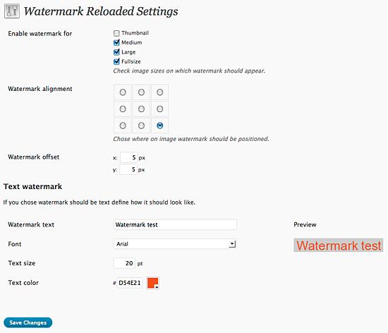 Настройка плагина WordPress Watermark Reloaded