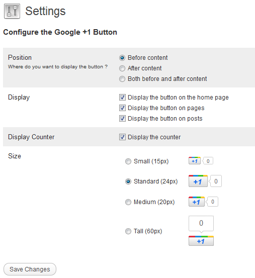 Google Plus One Button