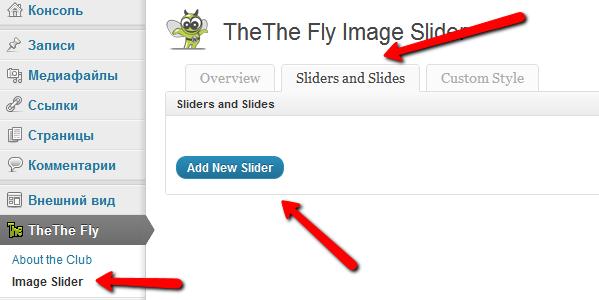 добавляем слайдер в плагине TheThe Fly