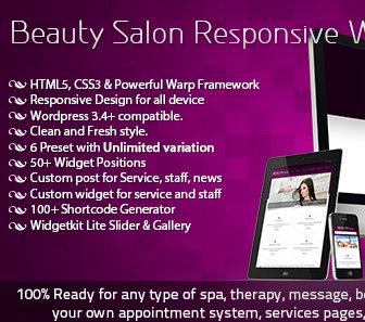 Themeforest Beauty Salon Responsive шаблон для салона красоты Wordpress