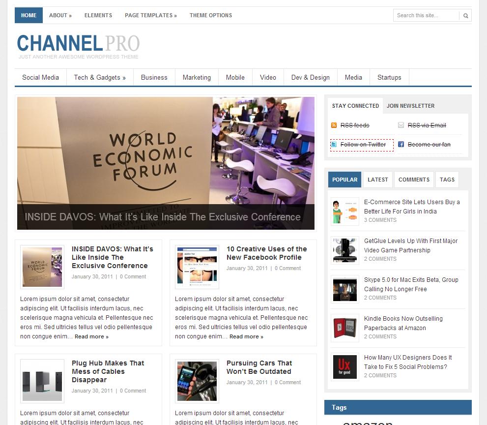8444e5d8ca79 Тема под названием ChannelPro представляет собой новостной сайт от  ThemeJunkie. Неплохой вариант шаблона, способный приятно удивить всех,  особенно тех, ...