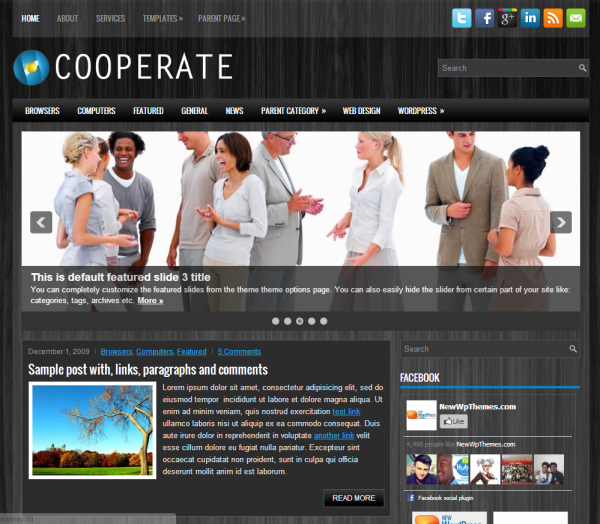 Бизнес чёрная тема Cooperate WordPress