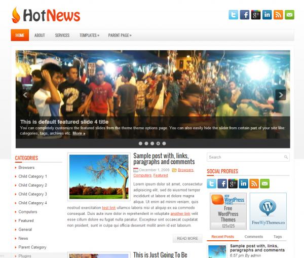Новостной шаблон Hot News NewWpThemes