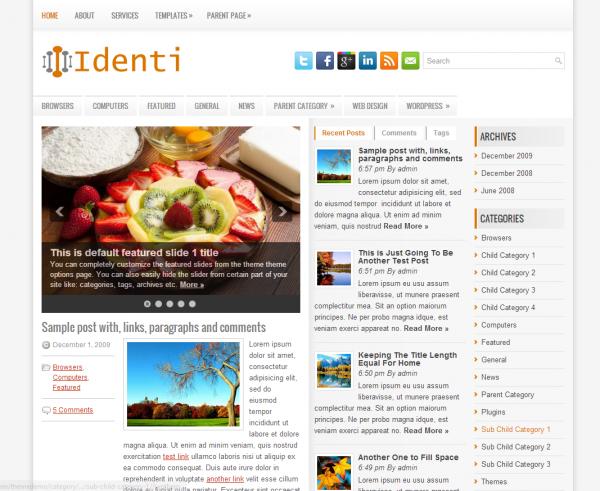 Простая новостная тема Identi NewWpThemes